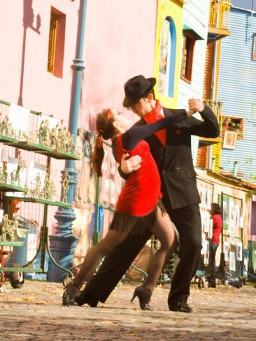 Tango Dancers on Caminito Avenue, La Boca District, Buenos Aires, Argentina Photographic Print
