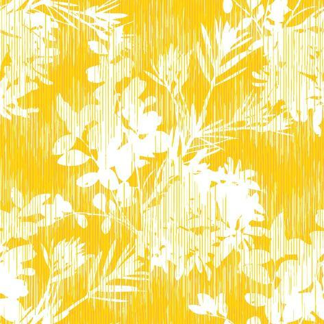 Botanical Silhouette Pattern Seamless Vector Background Tile Stampa artistica