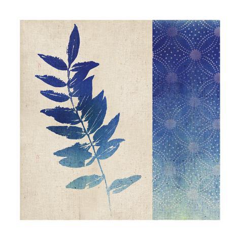 Indigo Leaves IV Premium Giclee Print