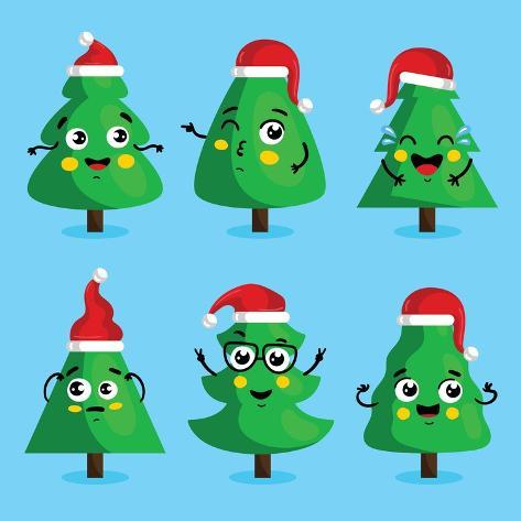 Funny Christmas Tree and Vector Christmas Tree on White Background. Cartoon  Christmas Tree Icon And