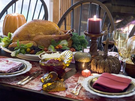 Stuffed Turkey on Thanksgiving Table (USA) Photographic Print