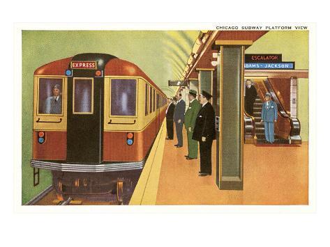 Subway Platform, Chicago, Illinois Art Print