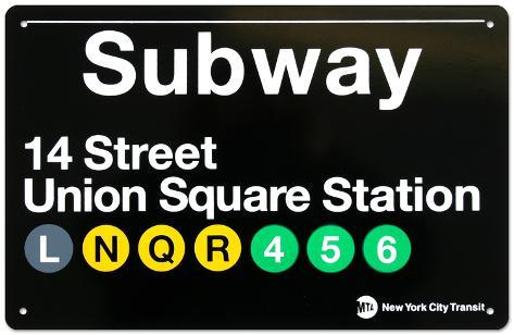 Subway Union Square Station Tin Sign