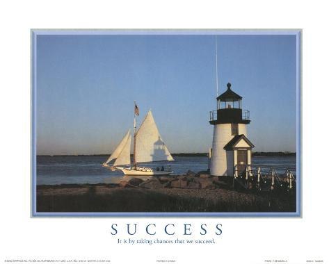 Success It is by Taking Chances that We Succeed Lighthouse Motivational Mini Poster