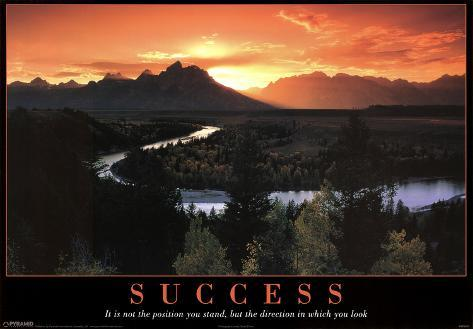 Success Mountains and Stream Motivational Poster Print Mini Poster