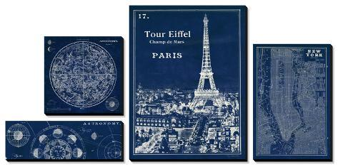 Astronomy and the Cities Blueprints Canvas Art Set