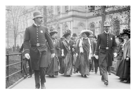 Suffragettes, Preceded By Policemen, Leaving City Hall, New York Art Print