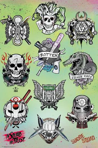 Suicide Squad- Character Tats Poster