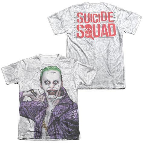 Suicide Squad- Joker Close Shave Etches (Front/Back) T-Shirt