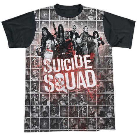 Suicide Squad- Red Spatter Logo Panels (Black Back) Sublimated