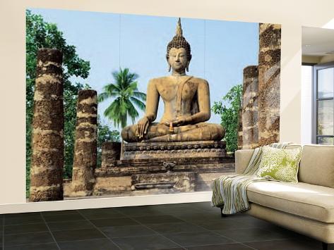 Sukhothai Wat Sra Si Temple Buddha Statue Huge Wall Mural Art Print Poster Carta da parati decorativa