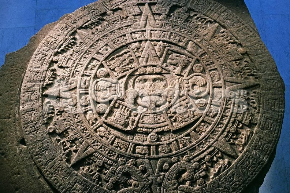 Aztec Calendar Stone.Sun Stone Or Aztec Calendar Stone Found In Tenochtitlan In 1789 Mexico