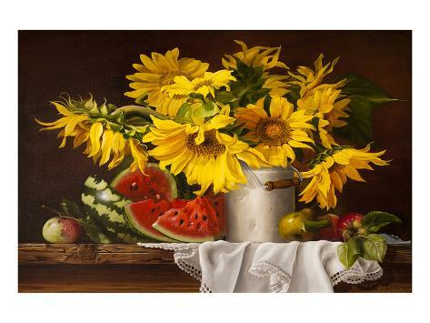 Sunflower Watermelon Stilllife Art Print