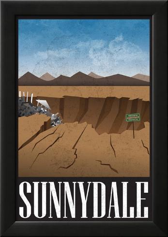 Sunnydale Retro Travel Poster Lamina Framed Poster
