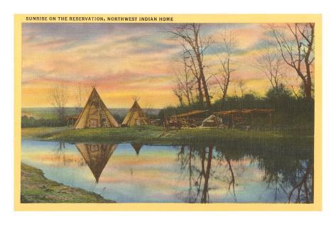 Sunrise on the Reservation, Tepees Art Print