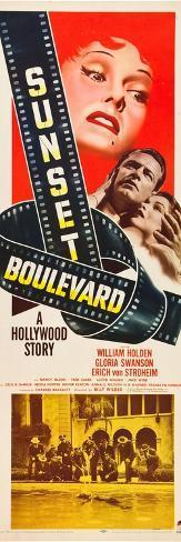 Sunset Boulevard, Gloria Swanson, William Holden, Nancy Olson, 1950 Impressão artística