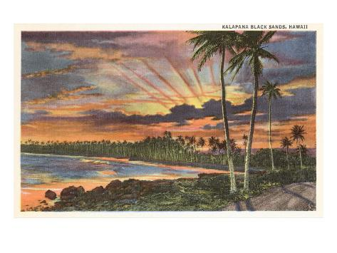 Sunset, Kalapana Black Sands, Hawaii Art Print