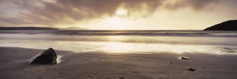 Sunset over the Sea, Whitesand Bay, Pembrokeshire, Wales Photographic Print