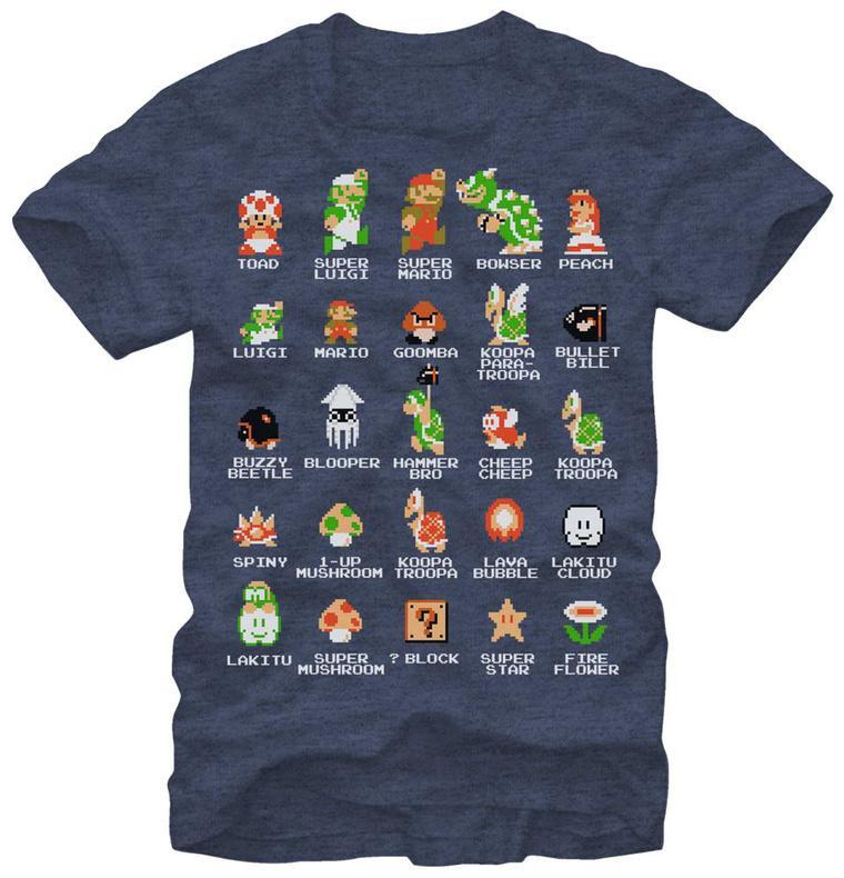 Video game t shirts poster at allposters super mario pixel cast shirt urtaz Image collections
