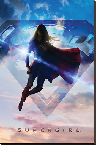 Supergirl- Up In The Clouds Stretched Canvas Print