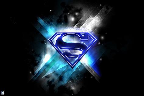 superman blue superman logo in blue lights against a black