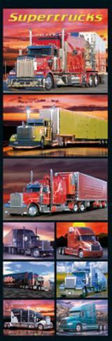 Supertrucks (Semi Trucks, Door) Art Poster Print Door Poster