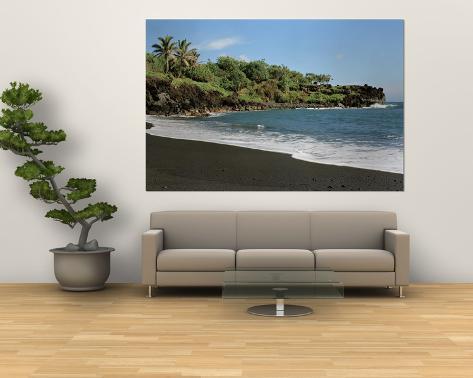 Surf on the Beach, Black Sand Beach, Maui, Hawaii, USA Laminated Oversized Art