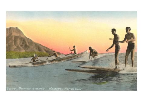 Surf Riders at Waikiki, Hawaii Art Print