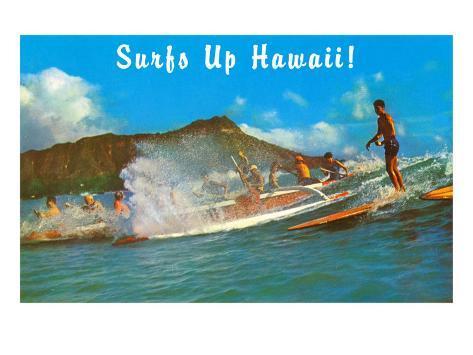 Surf's Up Hawaii, Diamond Head Art Print