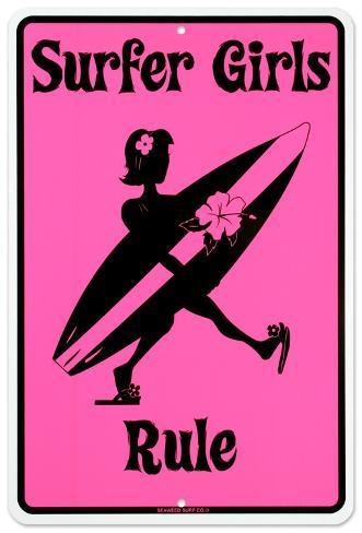 Surfer Girls Rule Plåtskylt