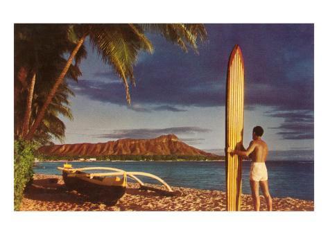 Surfer with Diamond Head Art Print