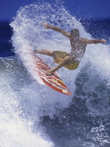 Surfer with Red Board Photographic Print