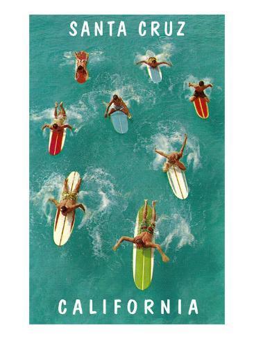 Surfers from Above, Santa Cruz, California Art Print