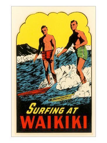 Surfing at Waikiki, Hawaii Art Print