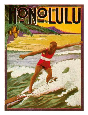 Surfing, Tourist Booklet, Honolulu, Hawaii, c.1918 Giclee Print
