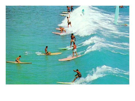 Surfing with Long Boards Art Print