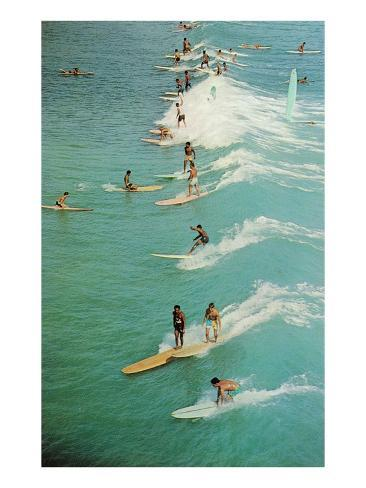 Surfing with Longboards Art Print