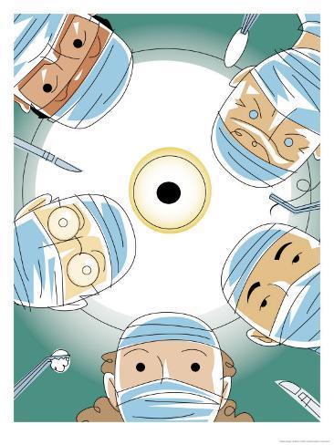 Surgical Patient's View of Five Doctors Art Print