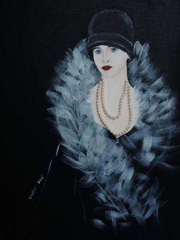 1920s Lady with Feather Boa and Pearl Necklace 2015 Giclee Print