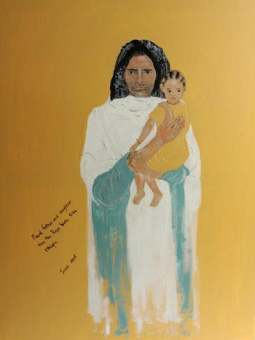 Ethiopian Father and Little Daughter, 2015 Giclee Print