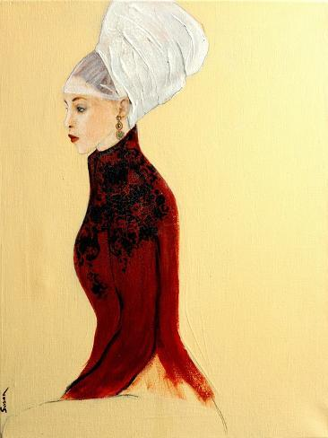 Lady in Dark Red with Flemish Headdress, 2016 Giclee Print