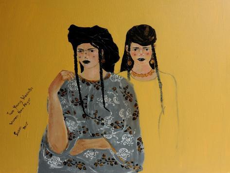 Two Young Women from the Wodaabe People in Niger Giclee Print