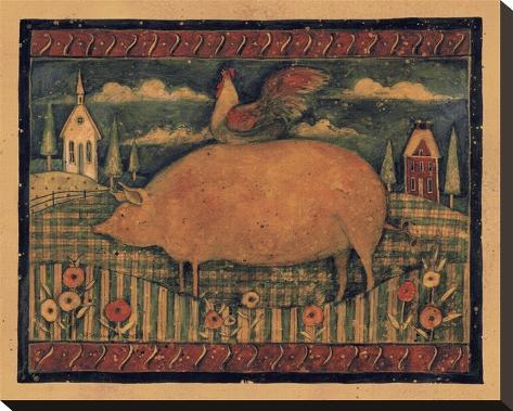 Farmhouse Pig Stretched Canvas Print
