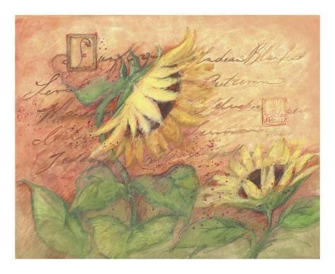 Sunflowers On Red Art Print