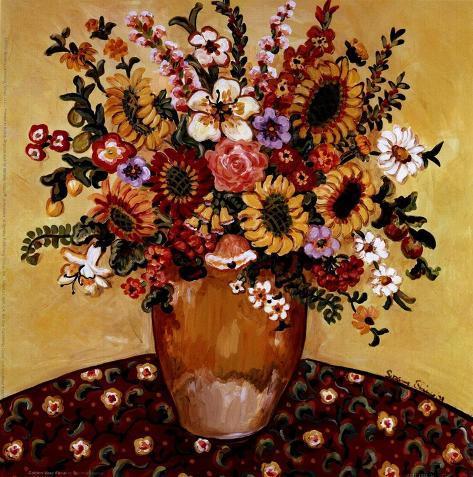 Golden Vase Floral Art Print