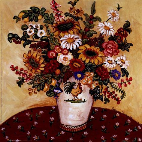 Rooster Vase Floral Art Print