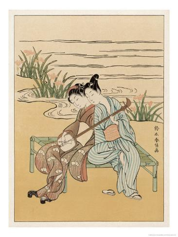 Two Japanese Lovers Play the Shamisen Giclee Print