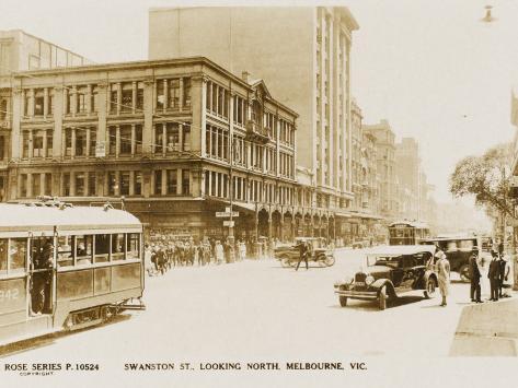 Swanston Street (Looking North) in Melbourne, Victoria, Australia Valokuvavedos