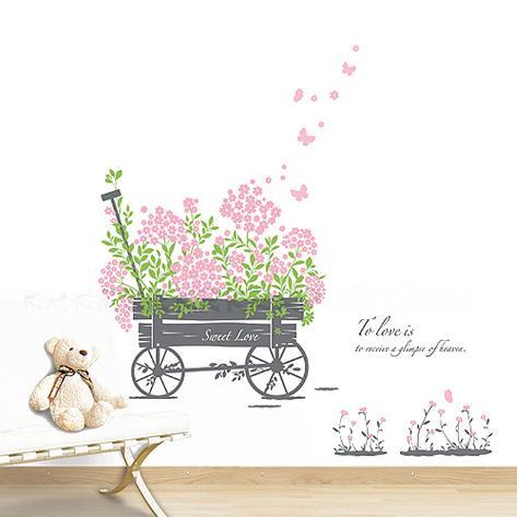 Sweet Love Pull Flower Wagon Wall Decal