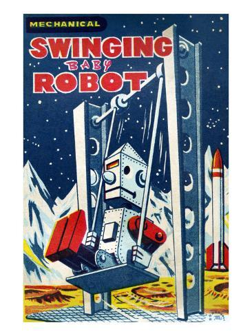Swinging Baby Robot Art Print